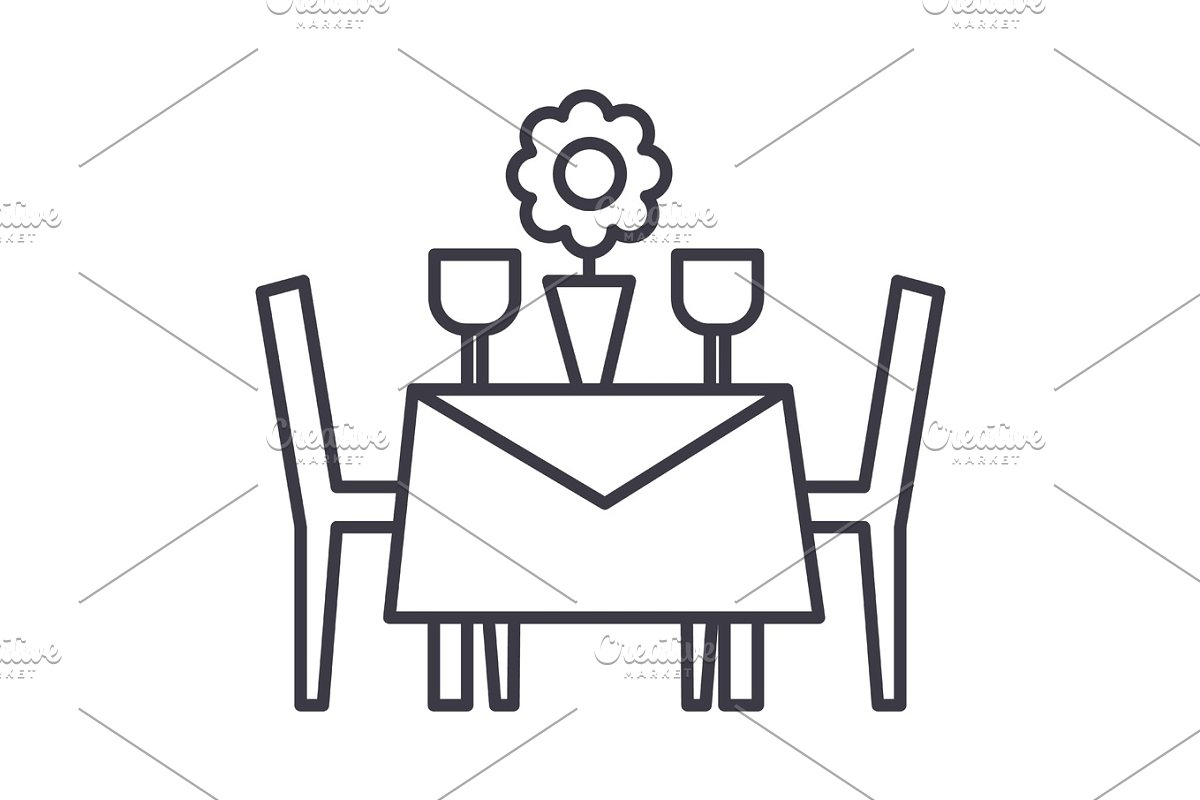 restaurant table with chairs vector line icon, sign, illustration on background, editable strokes