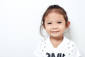 Portrait beautiful of happy long hair child little girl asian and black hair