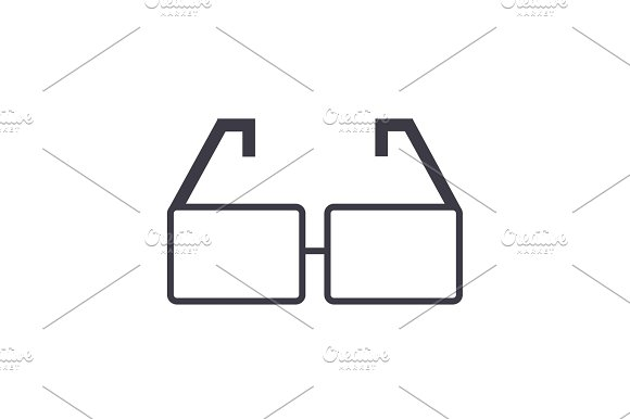 glasses vector line icon, sign, illustration on background, editable strokes