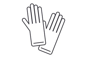 gloves vector line icon, sign, illustration on background, editable strokes
