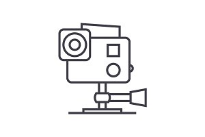 go pro video camera vector line icon, sign, illustration on background, editable strokes