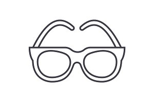 goggles,sunglasses vector line icon, sign, illustration on background, editable strokes