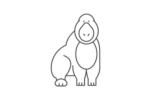 gorilla vector line icon, sign, illustration on background, editable strokes