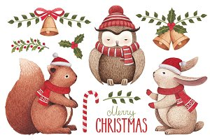 Christmas illustrations and patterns