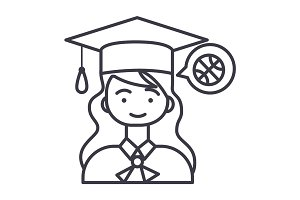 graduation girl vector line icon, sign, illustration on background, editable strokes