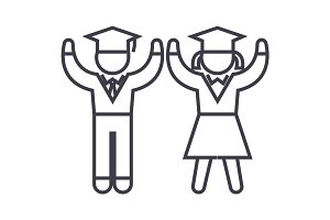 graduation,students,teaching people vector line icon, sign, illustration on background, editable strokes