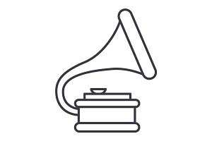 gramophone illustration vector line icon, sign, illustration on background, editable strokes