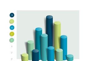 3D colummn chart, graph