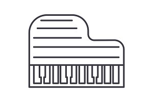grand piano  vector line icon, sign, illustration on background, editable strokes
