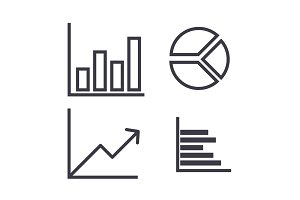 graphs vector line icon, sign, illustration on background, editable strokes