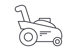 grass cutter,gardening machine vector line icon, sign, illustration on background, editable strokes