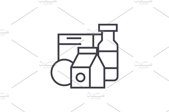 Grocery Products Milk Cereals Vector Line Icon Sign Illustration On Background Editable Strokes