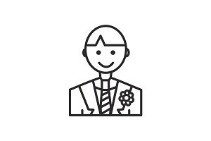 groom vector line icon, sign, illustration on background, editable strokes