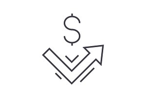growth up, money vector line icon, sign, illustration on background, editable strokes