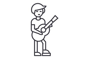 guitar player,flamenco vector line icon, sign, illustration on background, editable strokes