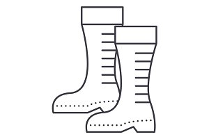 gumboots vector line icon, sign, illustration on background, editable strokes