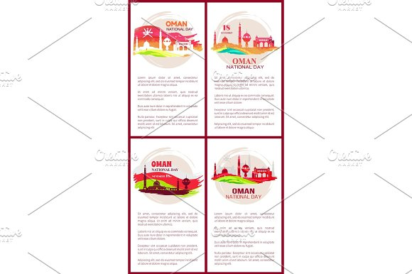 Oman National Day Posters Set Vector Illustration