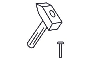 hammer with pin vector line icon, sign, illustration on background, editable strokes