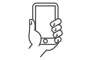 hand holding phone vector line icon, sign, illustration on background, editable strokes