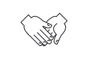 hand in hand vector line icon, sign, illustration on background, editable strokes