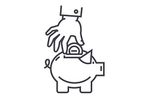 hand put coin in pig bank vector line icon, sign, illustration on background, editable strokes
