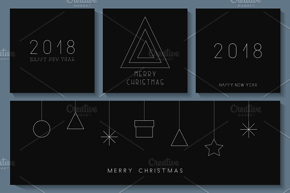Minimalistic Merry Christmas cards