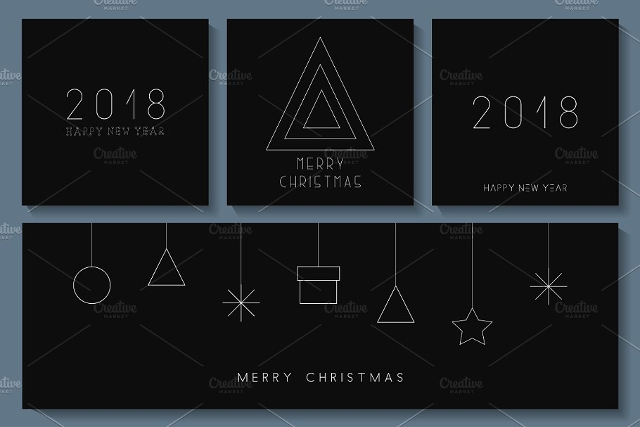 Minimalistic Merry Christmas cards in Objects - product preview 8