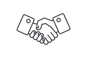 handshake vector line icon, sign, illustration on background, editable strokes