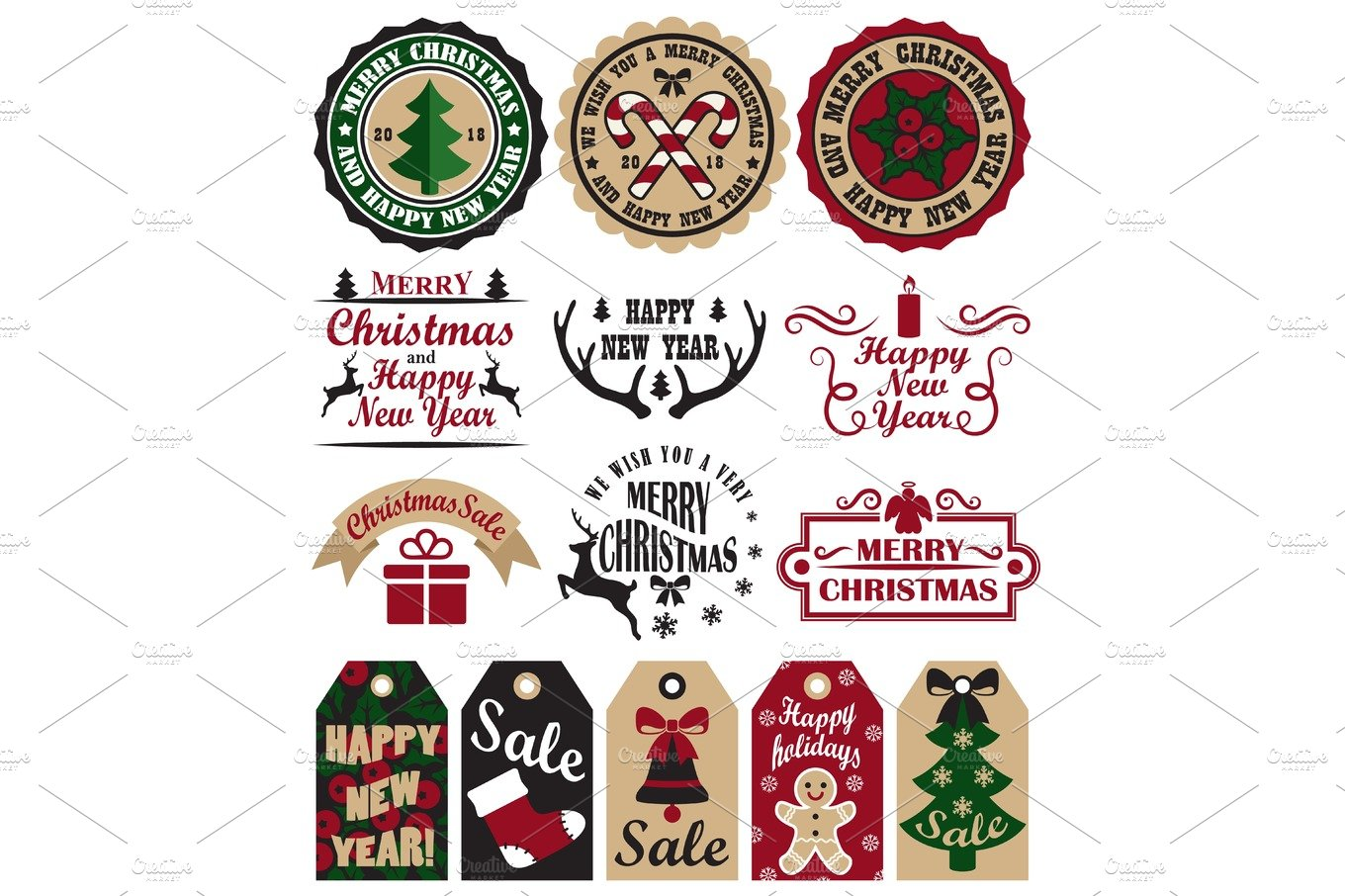 Merry Christmas Symbols Vector Illustration Set ~ Graphic Objects ...