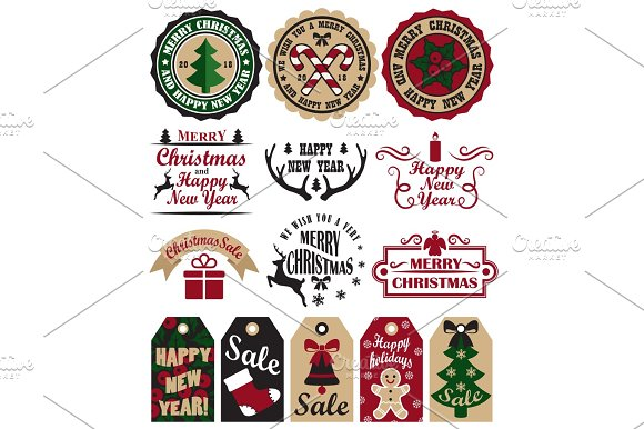 Merry Christmas Symbols Vector Illustration Set in Objects