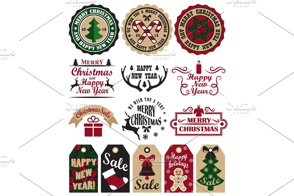 Merry Christmas Symbols Vector Illustration Set in Objects - product preview 8