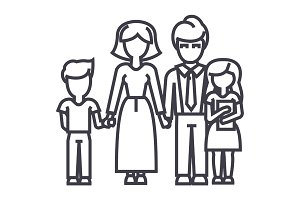 happy family,son, mother, father, daughter vector line icon, sign, illustration on background, editable strokes