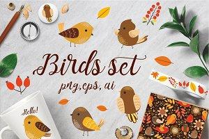 Birds set 2 (vector,jpg,png)