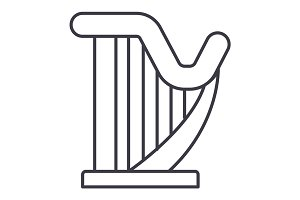 harp vector line icon, sign, illustration on background, editable strokes