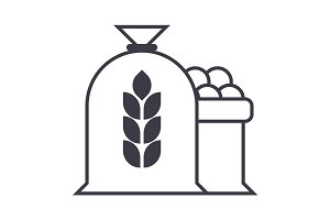 harvest wheat bag vector line icon, sign, illustration on background, editable strokes