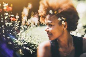 Tilt-shift portrait of black girl