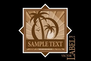 Palm trees silhouette emblem