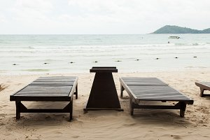 Wooden bed on the beach.