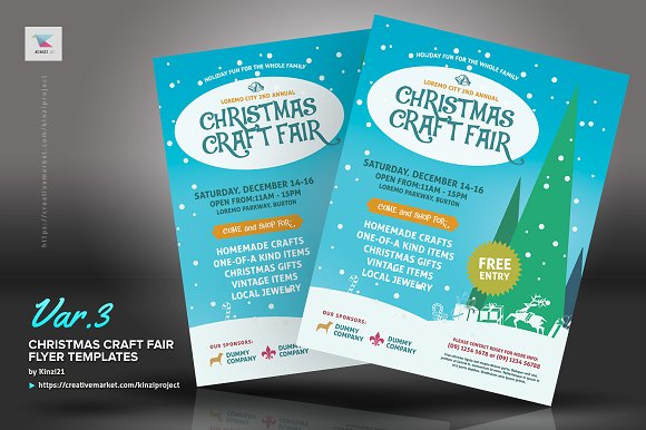 Christmas Craft Fair Flyer Templates Flyer Templates Creative Market