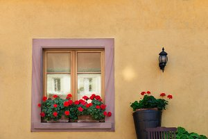 Beautiful window in traditional french house in Colmar, Alsace