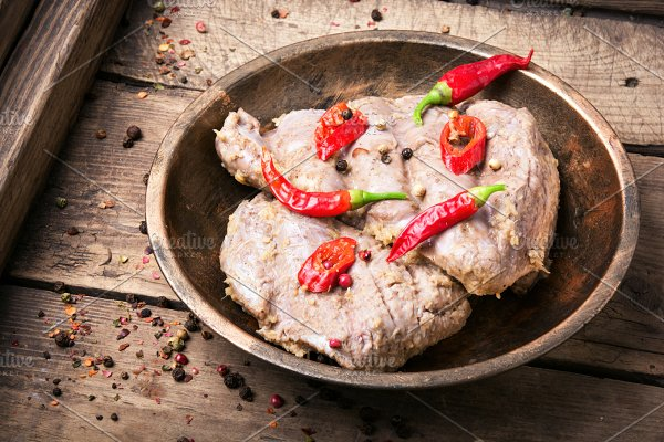Grilled meat with sauce  ~ Food & Drink Photos ~ Creative Market