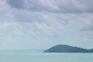 Large island in the sea.