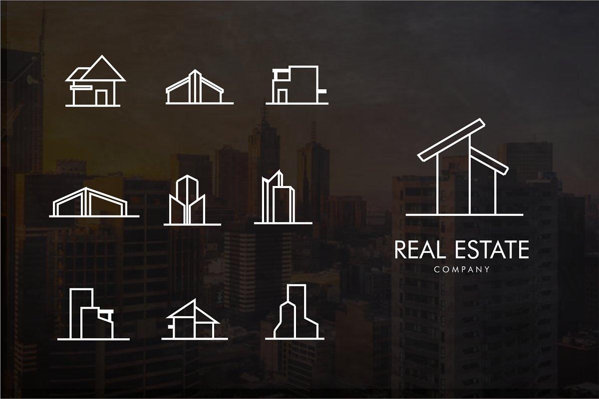 Real estate line Logo bundle