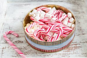 Preparation for the Christmas with candy canes and marshmallow
