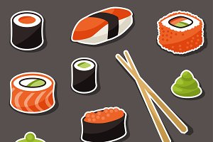 Various sushi stickers.