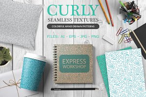 Curly hand drawn seamless patterns