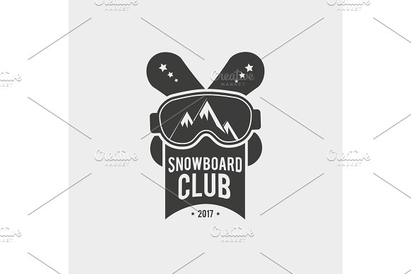 Snowboard club logo with glasses