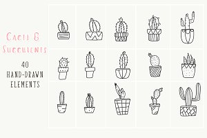 40 hand-drawn cactus plant elements
