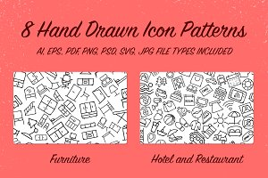 8 Hand Drawn Icon Patterns - Vol 2