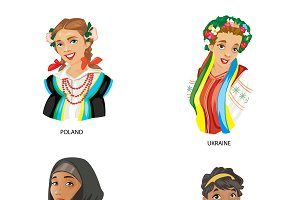 Vector country characters women set